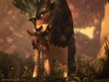 Tigre 3D follandose a Elfa de perrito
